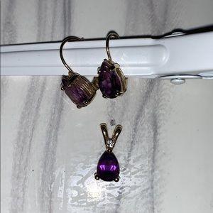 Amethyst Earrings & Necklace Pendant